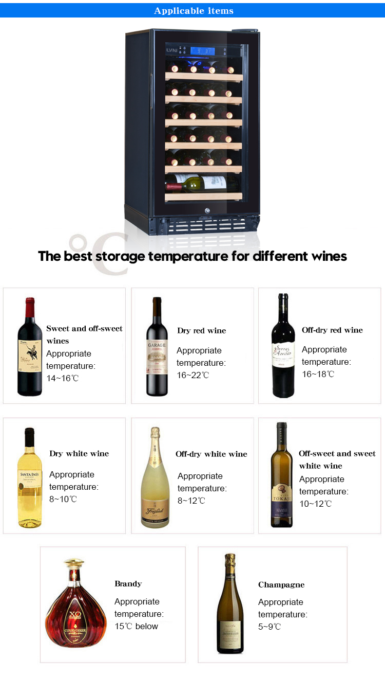 LVNI brand 22 bottles compressor single zone freestanding refrigerated wine cellar fridge cooler with glass door