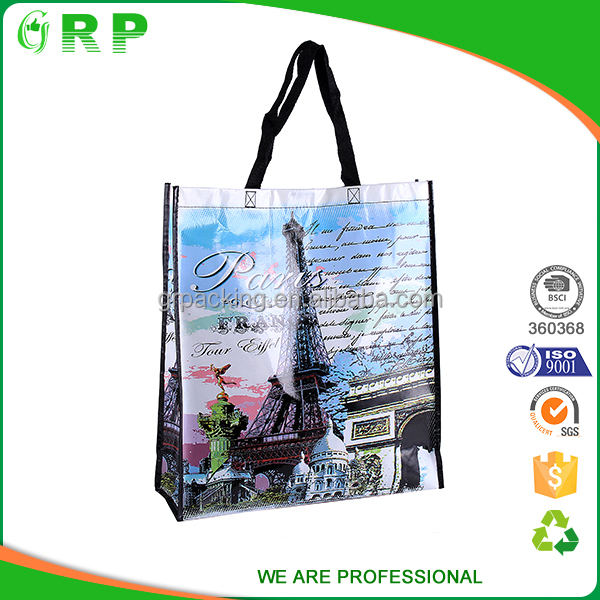 BSCI ISO France trendy portable carry heavy duty reusable polypropylene bags