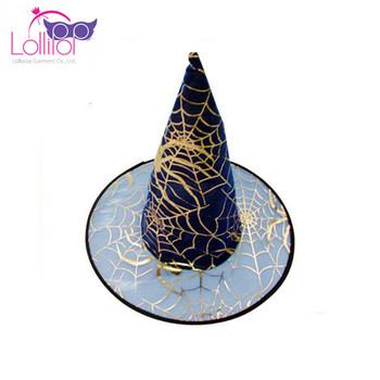 Halloween Decoration Wholesale Party Supplies Girls Ladies Witch Hat cobwebs print