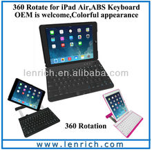 LBK163 360 degree rotate bluetooth keyboard for ipad air, ipad 5 foldable with back holder keyboard for ipad air ipad 5
