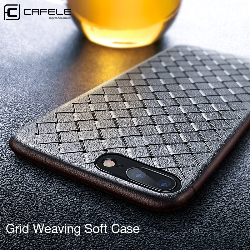 CAFELE leather phone case for iphone 8 plus Braided Weave Pattern Leather Skin Silicon Phone Case