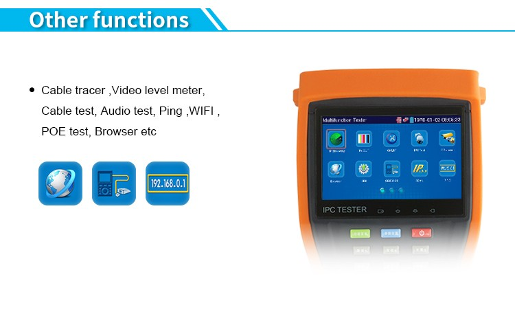 New Portable 4.3'' touch screen AHD/CVI/TVI CCTV tester with digital multimeter