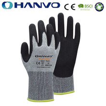 HANVO Industrial 13G Black Sandy Nitrile Coated Cotton Spandex Gloves