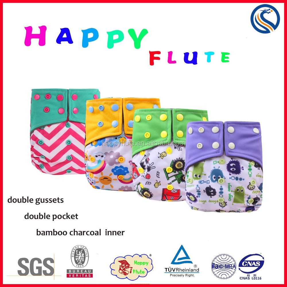 2016 NEW!Happy Flute One Size Pocket Diaper Printed Baby Cloth Diaper