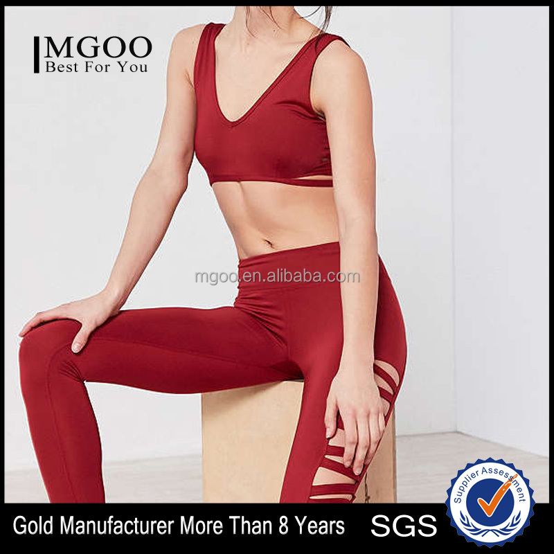 MGOO Hotsale Gym Sexy Women Sport Suit Dry Fit Tracksuit Custom Yoga Leggings Set