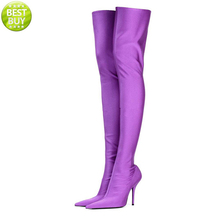 trendy pointed toe high heels soft satin upper women colorful over knee high boots