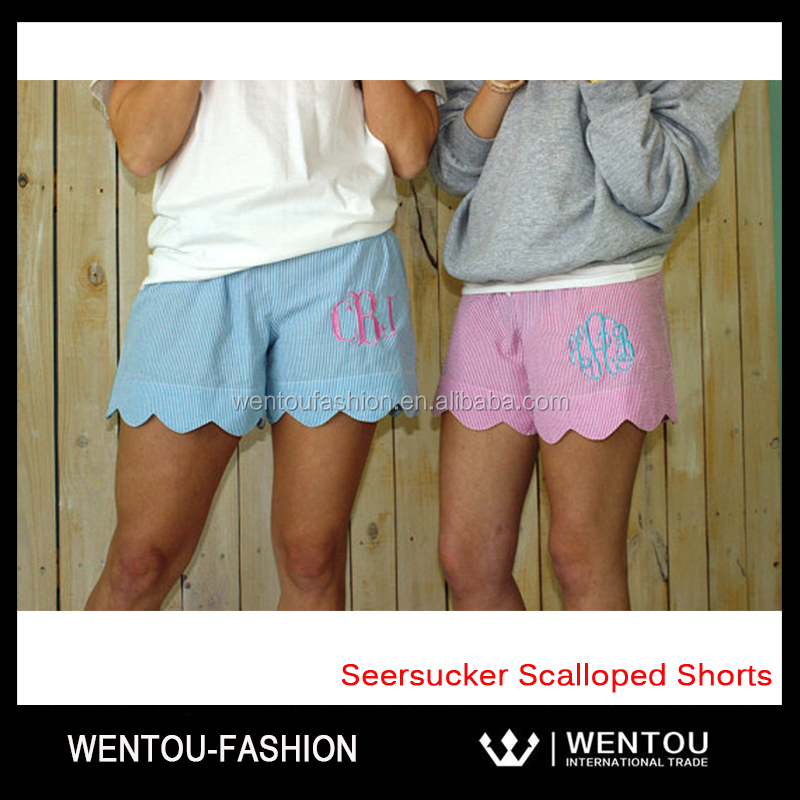 Monogrammed Seersucker Girls Scalloped Shorts