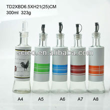 300ML hot selling stainless steel coated glass oil vinegar bottle with spout stopper