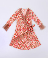 New Style Girl Fall Dresses With Taupe And Pink Chevron Wrap Dress Girl Casual Dress Girls Clothing Z-GD80729-25