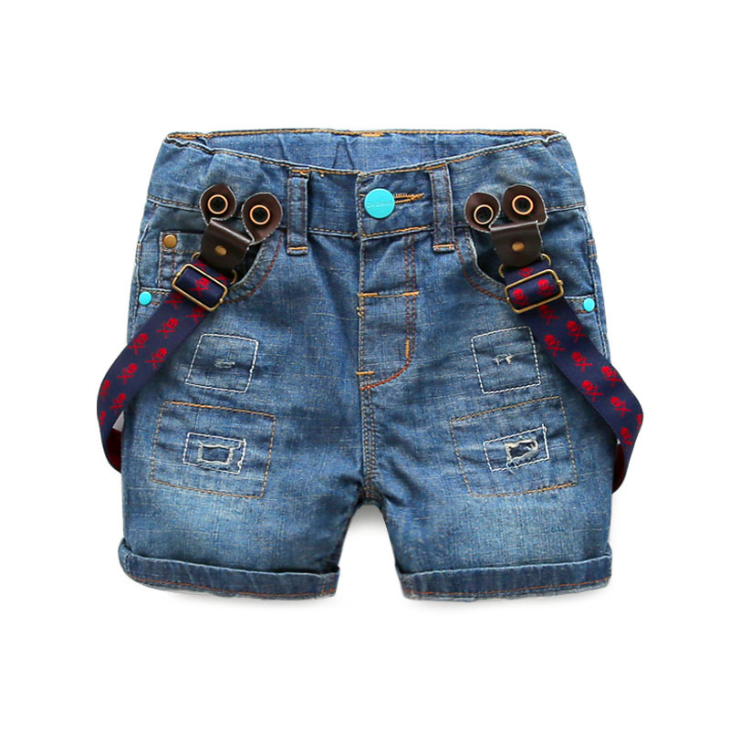 Boys ripped Jeans shorts 2015 new style fashion brand kids shorts boys with Straps bermuda jeans menino