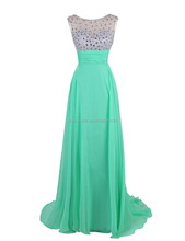 2017 Cheap long beaded top chiffon fancy prom dresses for teenagers