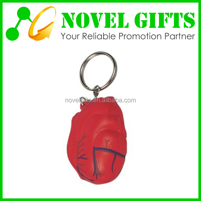 Custom Heart Shape PU Stress Reliever Ball with Key Chain