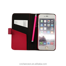 stand PU leather flip phone case with card slot and round pen for iphone 6 CO-LTC-1024