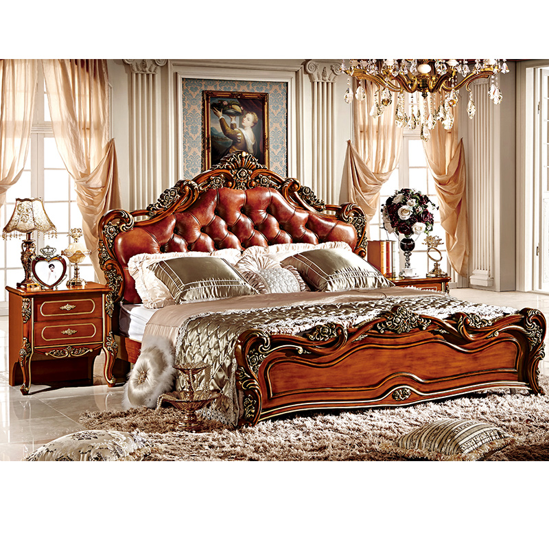 Luxury European Rococo Baroque French Style King Queen Double Size Leather Upholstery Soft Headboard Latest Design Wooden <strong>Bed</strong>