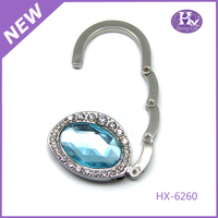 New Product HX-6260 Round Butterfly Crystal Heart Purse Hook