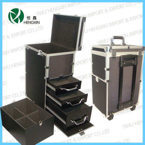 Trolley aluminum cosmetic case, makeup case tool case