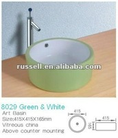 two color ceramic wash basin bathroom vanity