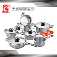 stainless steel 12pcs cookware set with thermometer knob