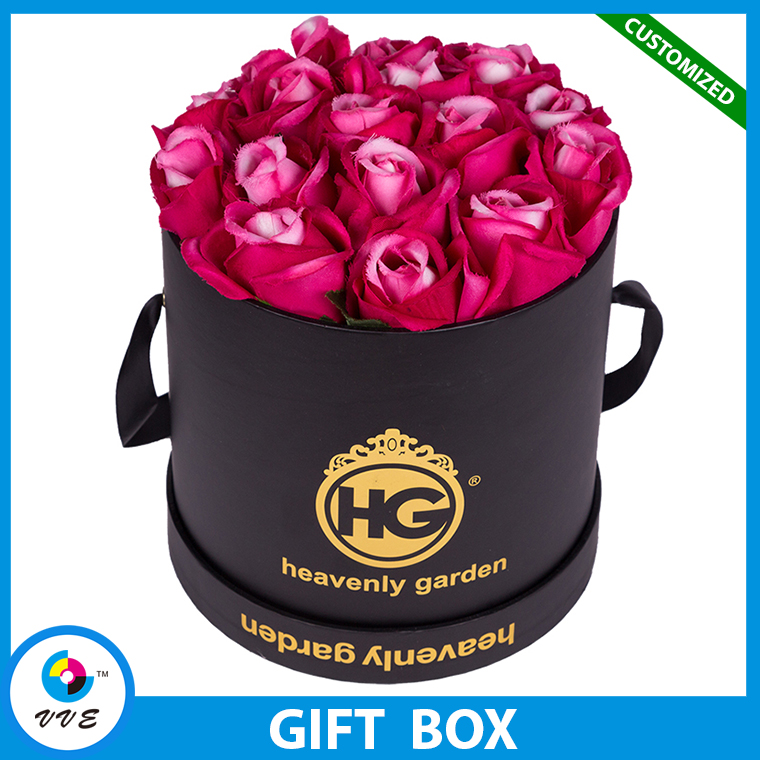 2017Hot Sale Storage Box Of Waterproof Paper Round Flower Box With Lid Ribbon Handle