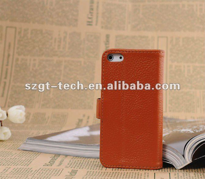 Cell phone leather case wallet type lichi wave PU leather protective cover case for Apple iPhone5