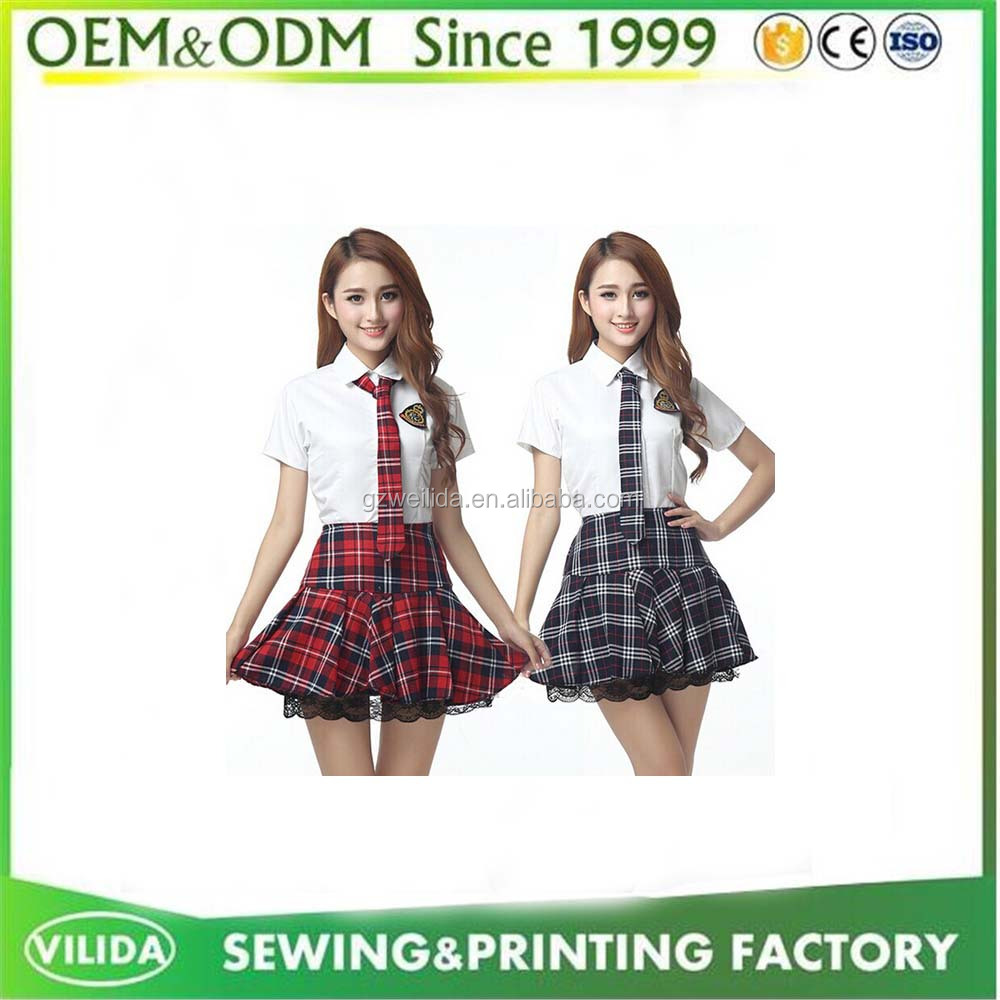 Bulk Summer Plaid Pleated Skirt Custom Japanese high School Uniform With Skirt