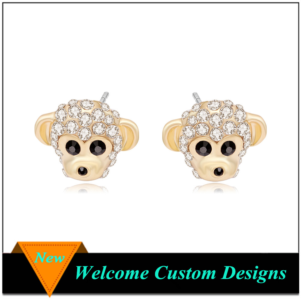 Newest Unique Animal Earring Jewelry Cute simian face model of gold earring