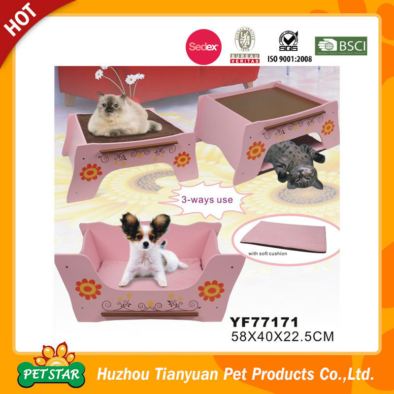 Detachable large wooden dog bed