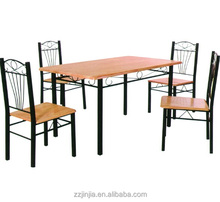 5pc modern rectangular dining set wood metal