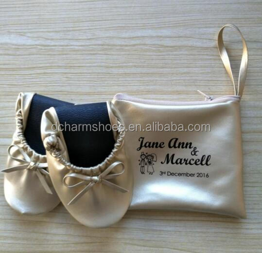 Hot Sale Ladies Folding Soft Gold Ballet Flats For Wedding