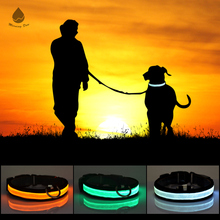 2017 Wholesale Bulk Flashing customized Light Up Nylon LED dog collar