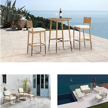 Hot sale outdoor rattan 2 high back dining chair and table for poolside furniture