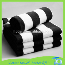 Rolled Yarn Dyed Black And White Striped Beach Towel, Bath towel wholesale