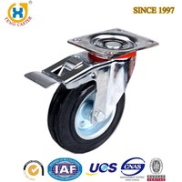 High quality 4 inch Top-plate Rubber Caster Wheel with Brake