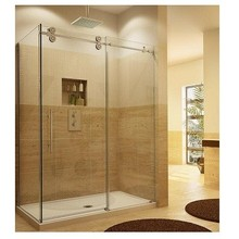 Comfortable huge space stainless steel 3 panel sliding glass fibreglass shower cubicle sizes