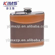 304 stainless steel hip flask with leather wrap/6oz hip flask with customer logo imprinted