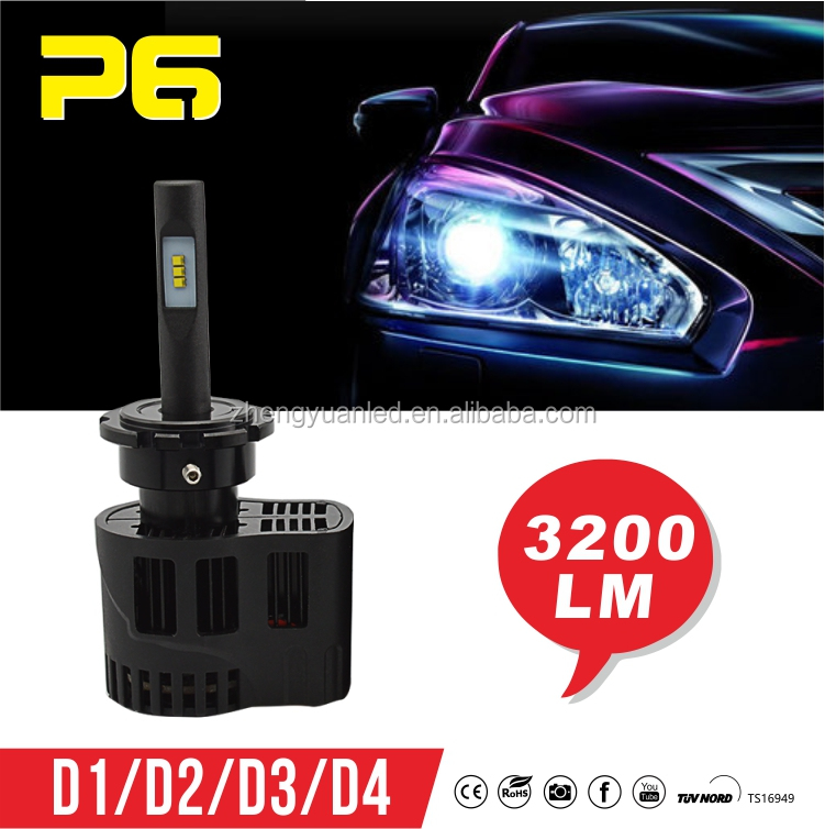 Motorcycle projector headlight / LED ZY ZES 6400LM lumens D2S