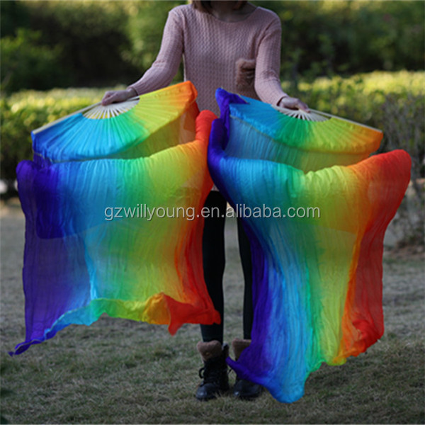 Hot Sale Vertical RAINBOW Color,7Colors, Belly Dance 100% Real Silk Fan Veils, 1.8M