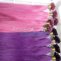 light red pink purple hair pre bonded nail hair extensions