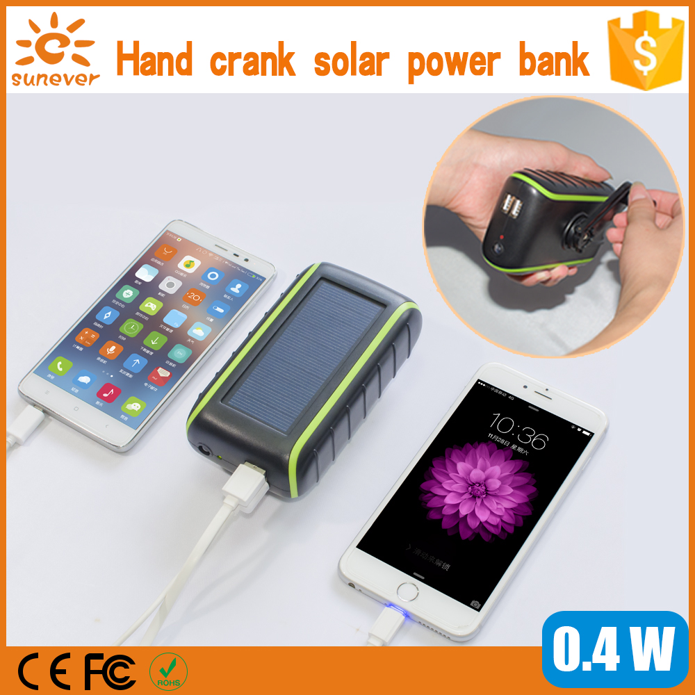 5400Mah solar mobile charger, dual USB hand generator dynamo solar power bank