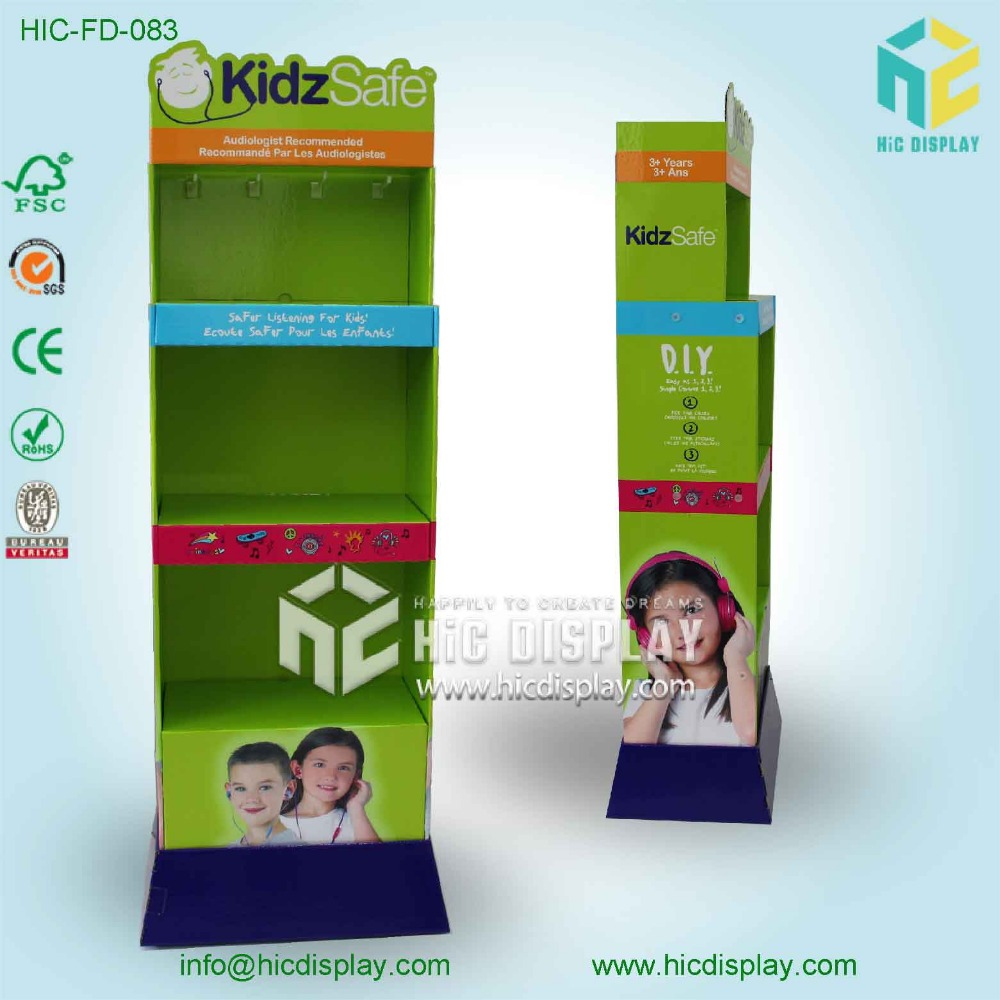 foldable cardboard display stand for kids headphone
