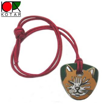 custom cat logo metal key tag with red cotton rope