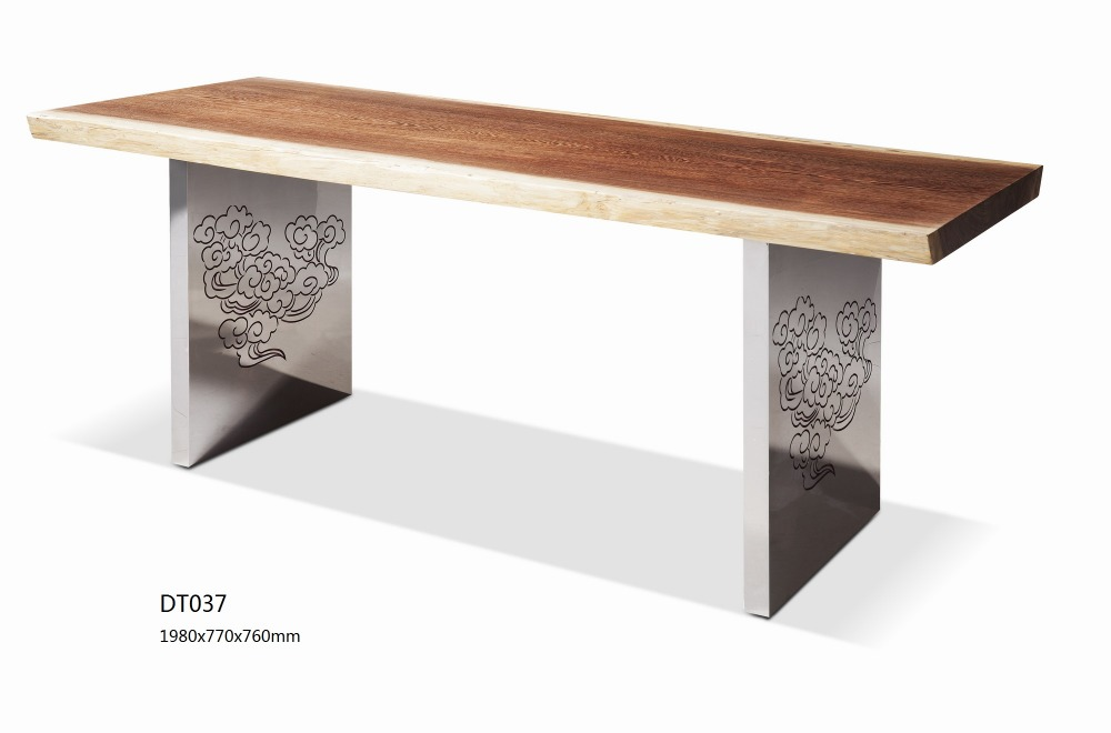 Hot Sale Long Narow Design Wooden top Meatl Base Dining Table Used For Home