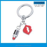 High Quality Promotional gift lipstick shape custom logo metal keychain / keyring