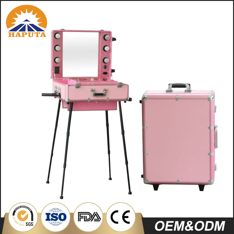 Fashion Aluminum trolley makeup case with lights makeup box , rolling makeup trolley with lights