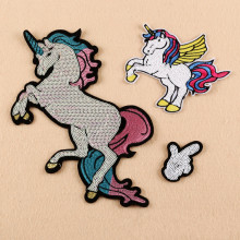 Unicorn Sequins Patches parches bordados Jacket Patch iron on Fabrics Clothes Appliques DIY accessory