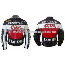High Quality Exquisite Mens Red Honda CBR Racing Motorcycle Biker Leather Jacket Safety Pads