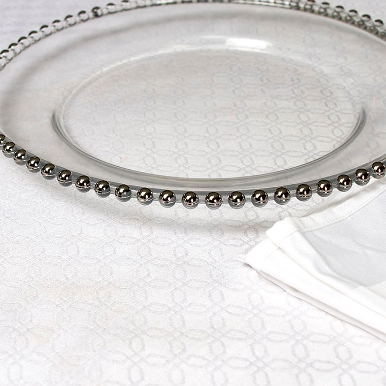 clear round beaded glass wholesale charger service plate