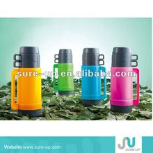 glass flask,glass thermo vacuum flask with 2 cups