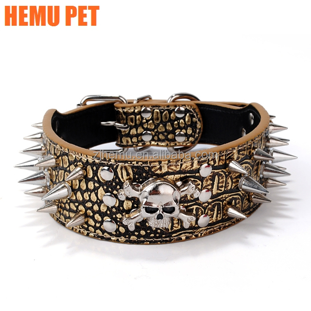 2017 hemu adjustable large premium genuine leather dog collar with studded spikes wholesale pet supply