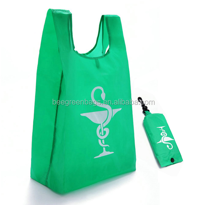 Snap button pouch design 190T nylon foldable shopping bag